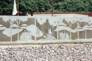 This section of the matewan Flood wall (built by the US army corp of engineers) depicts the Hatfield and McCoy feud.